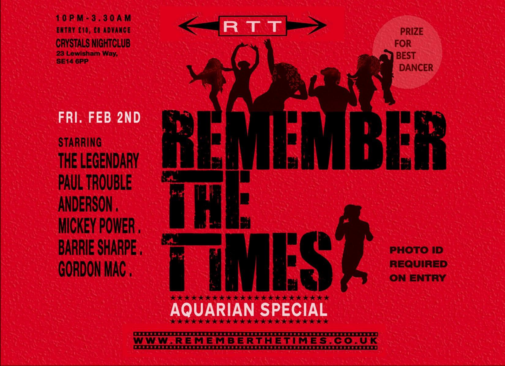 RTT LONDON SOUL NIGHT AQUARIAN SPECIAL DJ'S PAUL TROUBLE ANDERSON GORDON MAC BARRIE SHARPE MICKEY POWER